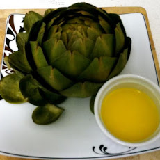 Boiled Artichoke With a Garlic Butter Dipping Sauce