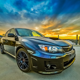 car at sunset by Bill Higginson - Transportation Automobiles ( clouds, car, subaru )