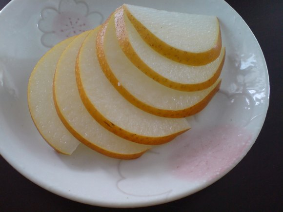 sliced hosui pears