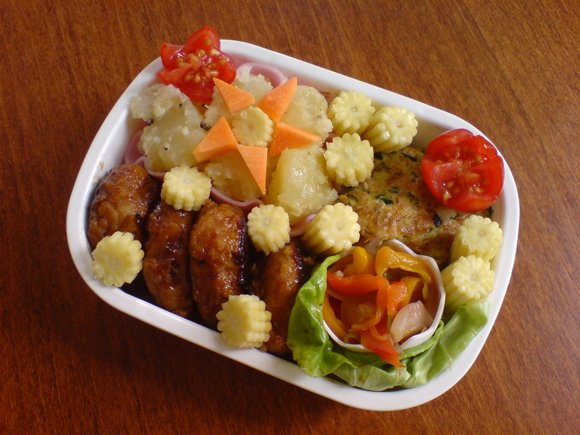 teriyaki chicken meatballs bento