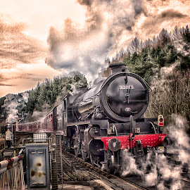 Iron Thunder by Dez Green - Transportation Trains ( railway, steam train, railroad, train, trains, steam,  )