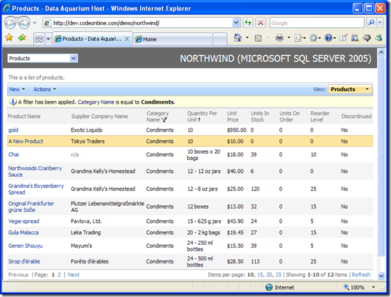 Highlighted new record in Data Aquarium Framework application created with Code OnTime Generator for ASP.NET and AJAX