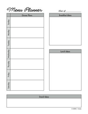 pennies and pounds templates for meal planning