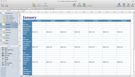 A spreadsheet-based meal planner designed in Apple Numbers.
