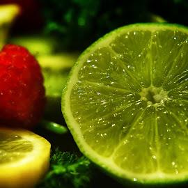 Shimmering Citrus by Steven Maerz - Food & Drink Fruits & Vegetables ( #food#macro#lime#lemons#berries#yum )