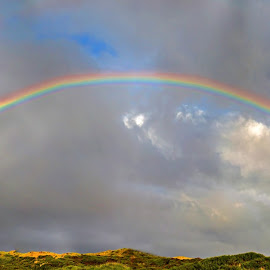 Full Rainbow Over South Jetty by Ken McDougal - Landscapes Prairies, Meadows & Fields ( full rainbows, full rainbow photos, stunning rainbow photos, rainbow, rainbows in oregon,  )