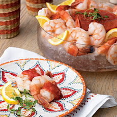 Vodka-Poached Shrimp with Bloody Mary Cocktail Sauce
