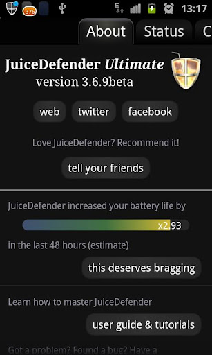 juicedefender-battery-saver for android screenshot