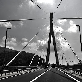 strong bonds by Emina Dedić - Instagram & Mobile Other ( backlit, backlight, strong, wires, black and white, cars, bw, road, bridge, suspended )