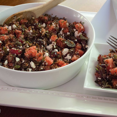 Quinoa Salad with Kale, Watermelon, Grapes and Feta Cheese