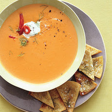 Red-Pepper Fennel Soup with Pita Chips