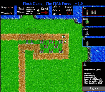【防御ゲーム】色んな属性の搭を並べてモン-スターをやっつける。「The Fifth Force v1.0」