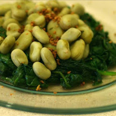Sauteed Spinach and Fava Beans