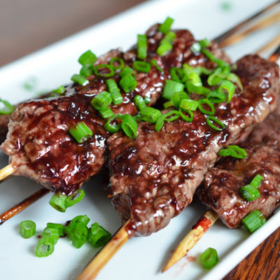 Smashed Steak Skewers with Cherry Barbecue Sauce (Inspired by The Croods)