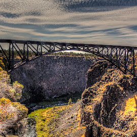 Crooked River View Point by Lee Gochenour - Buildings & Architecture Bridges & Suspended Structures ( oregon, crooked river bridge, crooked river view point, cliff, high desert, bridge, easter oregon )