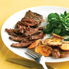 Skirt Steak with Crispy Garlic Potatoes