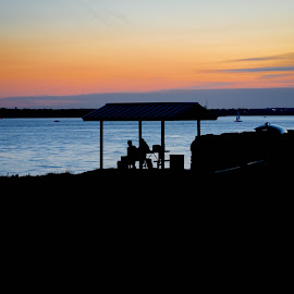 Family at the Lake by Greg Moore - People Family ( silhouette, sunset, family, lake )