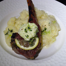 Grilled Double-Cut Lamb Chops, Green Garlic Herb Butter, Green Garlic Mashed Potatoes