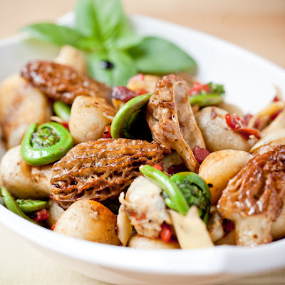 Pan-Fried Gnocchi with Morels and Fiddleheads