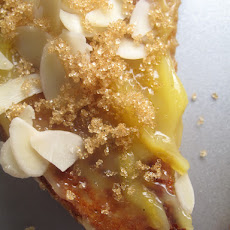 Bruléed (lemon curd) French toast with almonds