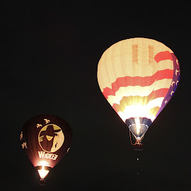 Balloons at Night by Charles Kuster - Transportation Other ( hot air balloon, night, balloon, fire )