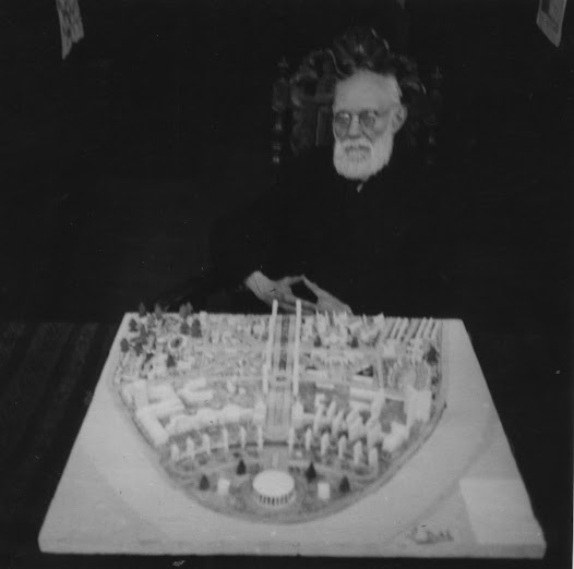 Paul Otlet beside the model of the World City. Brussel. 1943
