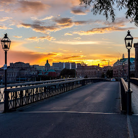 Tranquil bridge by Stefan Sarbu - City,  Street & Park  Historic Districts ( stockholm, sunset, bridge, historic )