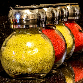 Yellow sand, red sand by Garry Chisholm - Artistic Objects Other Objects ( colour, garry chisholm, red, glass, yellow, jars )