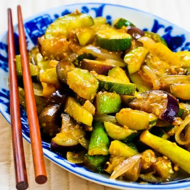 Garlic-Lover's Vegetable Stir Fry with Eggplant, Zucchini, and Yellow Squash