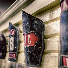 Fire Helmet Crests from the Greater Lancaster Museum of Firefighting#HDR #Lumix #LumixG5 by Scott Giorgini - Artistic Objects Antiques