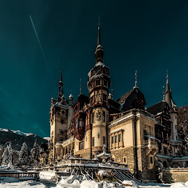 Peles Castle, Romania by Cosmin Anghel - Buildings & Architecture Public & Historical ( castle; winter; evening; snow )