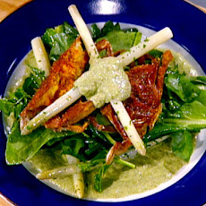 Fried Softshell Crab, White Asparagus and Wild Sorrel with a Grilled Ramp Dressing