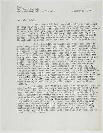 Translation of letter from Mario Sansoni describing the terrible wartime conditions in Italy and his desire to assist the Allied Office for the Protection of Monuments.