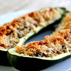 Stuffed Zucchini with Ham and Mushrooms