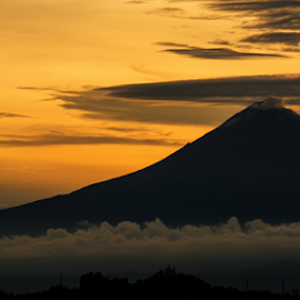 Golden Hour and Popocateapetl by Cristobal Garciaferro Rubio - Landscapes Mountains & Hills