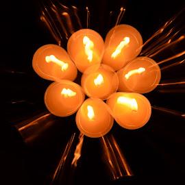 Teatime by Katarina Wikberg - Digital Art Abstract ( lights, zoom, digital art, tealights, burning )