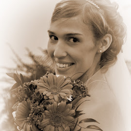 Beautiful Bride by Xylina Payne - Wedding Bride ( sepia, editing, wedding, beautiful, flowers )