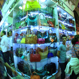 Bag Shop in Covered Bazaar by Rüstem Baç - City,  Street & Park  Markets & Shops ( covered bazaar, shopping, istanbul, leather bags )