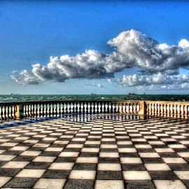 TERRAZZA MASCAGNI by Gianluca Presto - Buildings & Architecture Other Exteriors ( clouds, tuscany, hdr, chess, sea, terrazzamascagni, terrace, blackandwhite, terrazza, mascagni, sunny, cloudy, italy )