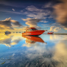 Red in blue by I Made  Sukarnawan - Transportation Boats