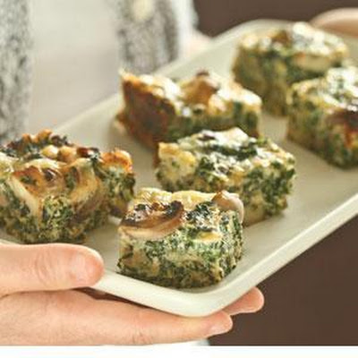 Spinach, Mushroom and Swiss Crustless Quiche Squares