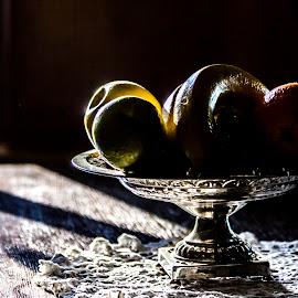 Fruits in shadow by Kaj Lehto - Food & Drink Fruits & Vegetables ( orange, banana, apple, shadow, silver, plate, table )