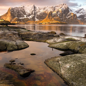 Lofoten Sunrise by Mike Woodford - Landscapes Waterscapes ( mountains, sunrise, rugged, lofoten, norway )