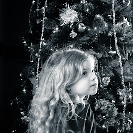 Beautiful Holiday Girl by Andrew Block - Babies & Children Child Portraits ( tree, santa claus, christmas, rhodes hall )