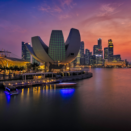 That best moment by GokulaGiridaran Mahalingam - Buildings & Architecture Public & Historical ( canon, skyline, waterscape, marina bay sands, cityscape, landscape, dusk, singapore, lotus, sunset, mbs, buildings, public place, asm )