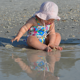I See You by Deirdre Cavener - Babies & Children Babies ( water reflection, beach, baby )