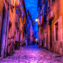 Old Street in Rovinj, evening by Siniša Biljan - City,  Street & Park  Street Scenes