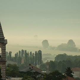 by Dominik Belančić - Buildings & Architecture Other Exteriors ( field, church, fog, moody )