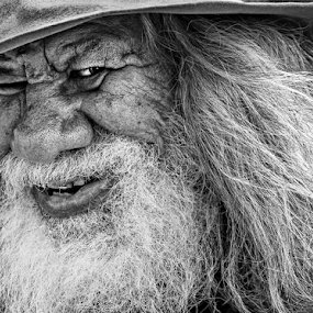 The Swaggy by Gary Beresford - Black & White Portraits & People ( wander, storyteller, swag, aborigine, poet, walkabout, australia, beard, wizard, nomad, swaggie,  )