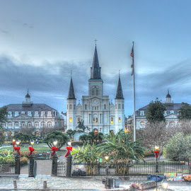 Christmas in Nawlins by Barton Bishop - Landscapes Travel ( new orleans, louisiana, christmas, holidays, cathedral, cityscape, square, landscape )